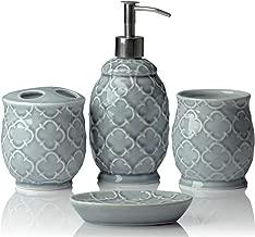 Designer 4-Piece Ceramic Bath Accessory Set | Includes Liquid Soap or Lotion Dispenser w/Toothbrush Holder, Tumbler, Soap Dish | Moroccan Trellis | Contour Grey - Holds 15.6 oz