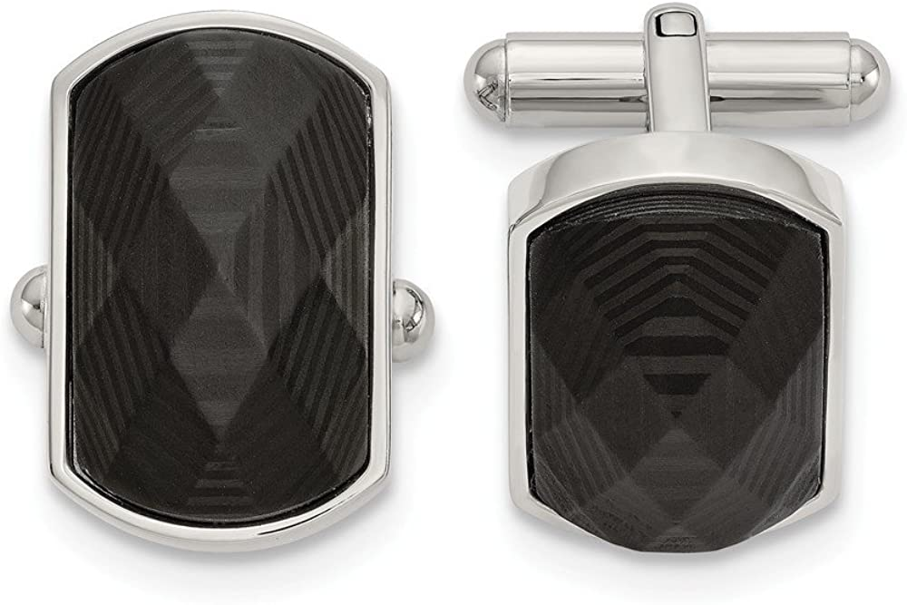 FB JEWELS Stainless Steel Polished Solid Black Carbon Fiber Inlay Cuff Links