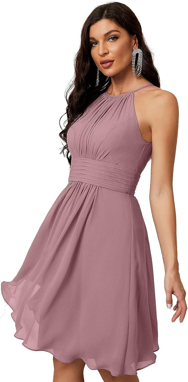 Numbersea Short Halter Top Chiffon Bridesmaid Dresses Tea Length A Line Formal Evening Party Cocktail Dress