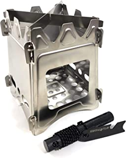 Survival Outlaw – Wood Burning Camp Stove –Uses Twigs, Sticks, and Pellets – 304 Stainless Steel - Portable & Compact – Perfect For Emergency Bushcraft or Backpacking - Free Outlaw Striker Firestarter