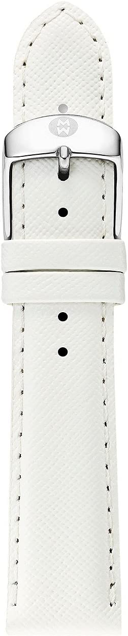 Michele - 16mm White Saffiano Leather Strap