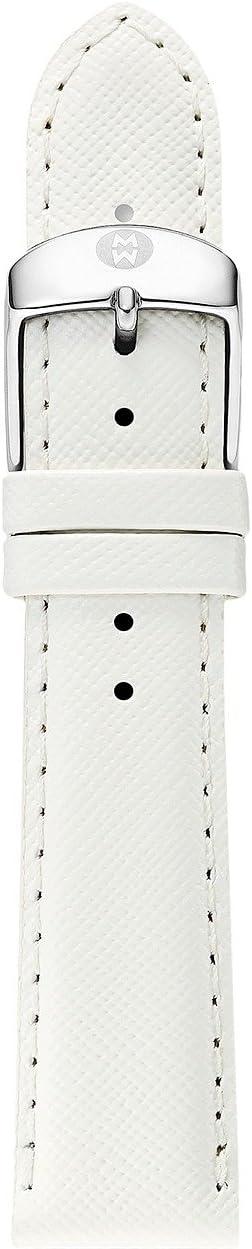 Michele - 16mm White Saffiano Leather Strap