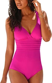 Women Solid Color One Piece Swimsuit Sexy Deep V Flounce Ruched Backless Monokini Bathing Suit