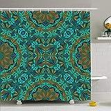 Hotyle Conjunto de Cortina de Ducha con Ganchos 140X180 Cm Mosaico Barroco Caleidoscopio Texturas abstractas Azulejo Floral Alfombra Persa Marroquí Árabe Oriental