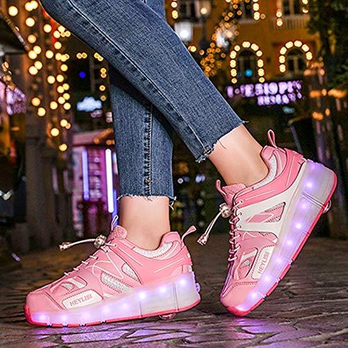 Automática Ruedas Ajustables LED Zapatillas con Luces Ruedas Color Deporte Zapatos De Skate Roller Deportivos Zapatos Trainers Monopatín Sneaker para Niños Niñas,40