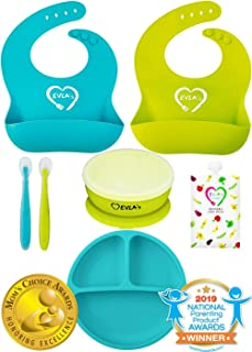 Baby Feeding Set | Silicone Bib Plates Bowls Spoons | Divided Plate Suction Bowl &..