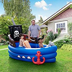 DESIGN: This amazing inflatable is designed to look like a pirate boat, adding a sense of a sense of adventure to your kid's outdoor water fun. Complete with a wheel inside so they can pretend they are steering the ship. Due to safety reasons, this i...