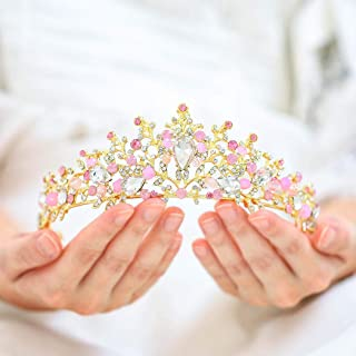 Catery Gold Baroque Tiaras and Crowns with Crystal Earrings Pink Crystal Wedding Bride Queen Crowns for Women Decorative Princess Tiaras Hair Accessories for Prom