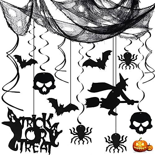 Bluelves Halloween Decoracion Espiral, Negra Tela Halloween, Decoración Colgante Remolino, Halloween Colgantes de Techo, Cráneo Bruja Murciélago Araña, para Halloween Fiesta Casa Decoraciones