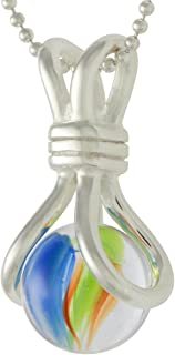 Pee Wee marblePOP! Chloe Pendant on Silver Clad Fine Ball Chain