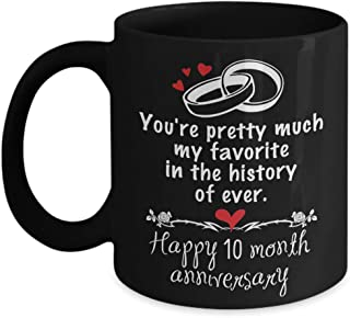 A.Patience - 10 Month Dating Anniversary Gifts for Boyfriend from Girlfriend - Happy 10th Month Anniversary Gifts Ideas For Her for Valentine's Day - Funny Ceramic Boyfriend Coffee Mug Tea Cup 11 OZ