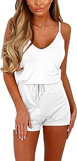Jumpsuit Women's Short Color Solid Jumpsuit Summer Fashion Casual Sleeveless Feast Clothing V-Neck Strapless Pant Suit Ele...