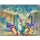 JHDF Pintura de Coloridos pies con Chanclas en la Playa de Arena Alfombras de baño Entradas Antideslizantes en el Piso Alfombrilla para Puerta de Interior al Aire Libre Alfombra de baño de 40 * 60 cm