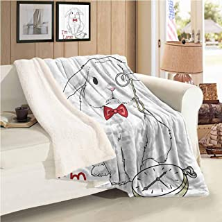 Xlcsomf Sofa Blanket Alice in Wonderland Decorations Collection Sofa Bedroom Decoration (60 x 47 inch) Funny Rabbit with Watches Cartoon Alice Decor Character Fantasy White Red