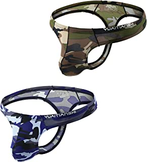 iKingsky Men's Camouflage Thong Underwear Sexy Low Rise T-Back Under Panties