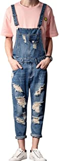 Men's Ankle Length Pocket Holes Ripped Jumpsuits