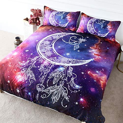 BlessLiving Star Galaxy Bettwäsche Halbmond Bettbezug Lila Pink 3-teiliges Feder-Design Bettbezug Weltraum Bettdecke Set (Queen-Size)