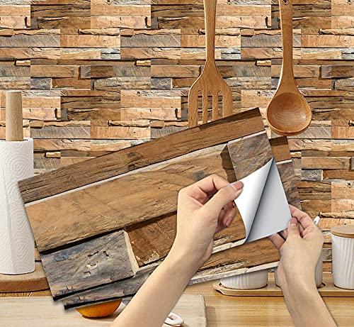 6 Piezas Pegatinas de Azulejos para Baño 30x15cm Pegatinas de Baldosas Adhesivas Vinilos para Cocina Rectangular Venatura del LegnoGrano de Madera