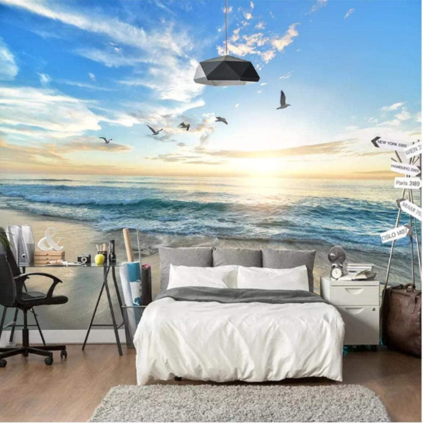 ほうき南極保全Clhhsy 剥離可能な3D壁画カスタム写真の壁紙3Dカモメ青空白い雲海の風景壁壁画リビングルームソファ寝室の壁紙家の装飾-350X250Cm