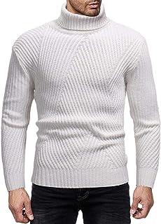 YANGPP Maglioni da uomo Invernale Caldo Maglione da Uomo Doppio Strato A Righe Collo Alto Maglione Pullover da Uomo