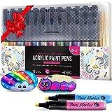Stylos marqueurs peinture acrylique - 12 couleurs vibrantes fantastiques + 24 pièces de rechange - Marqueurs de pointes rechargeables à point moyen pour bois, métal, toile, roche, peinture sur tissu