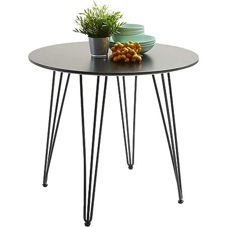 H.J WeDoo Ronde Table à Manger Design avec Pieds d'épingle à Cheveux Table de Cuisine Moderne Style Nordique 80 * 80 * 75 cm - Noir