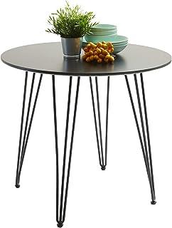 H.J WeDoo Ronde Table à Manger Design avec Pieds d'épingle à Cheveux Table de Cuisine Moderne Style Nordique 80 * 80 * 75 ...