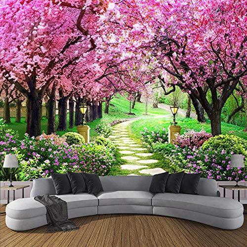 MGQSS 3D Wandbild selbstklebende Tapete 3D Kinderzimmer 3D Fototapete Blumen romantischen Kirschbaum Weg Wandmalerei Tapete Wohnzimmer Schlafzimmer(B)250x(H)175 cm