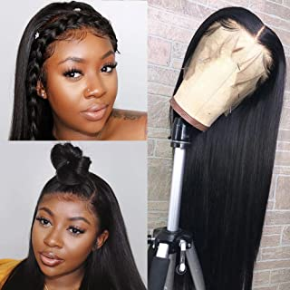 MSCOVE Lace Front Wigs Human Hair Pre Plucked Brazilian Straight Lace Frontal Wigs For Black Women With Baby Hair 32 Inch Natural Hair Wigs