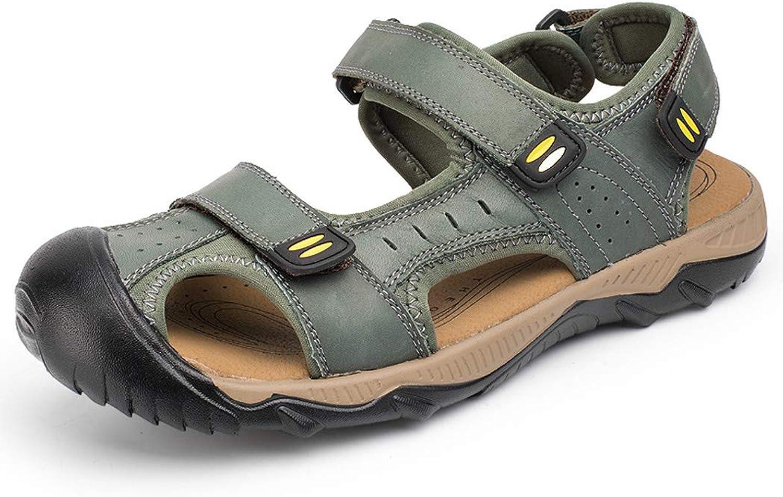 Jeff-chy Mens Leder Sandals Athletic und Outdoor Schuhe, Summer Top Layer Leder Rutschfeste Strandschuhe Baotou Breathable Large Größe Sandalen