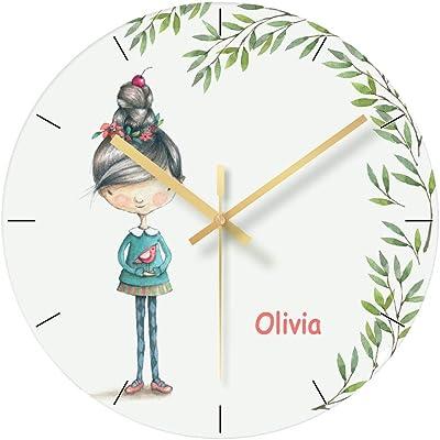 12-Inch Kess InHouse Cristina Bianco Design Cute Deer Pattern Teal Kids Wall Clock