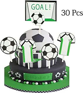 Soccer Cupcake Toppers,Soccer Series Decoration Appetizer/Food Picks, Afternoon Desserts Decoration On Hamburger, Desserts, Appetizer, Cakes, Cupcake Toppers