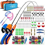 TQONEP 2 Pack Kids Fishing Poles,Portable Telescopic Fishing Rod and Reel 126 Pieces Combo Set with Travel Bag,Tackle Box and Spincast Fishing Reel Great Gift for Boys,Girls,Youth
