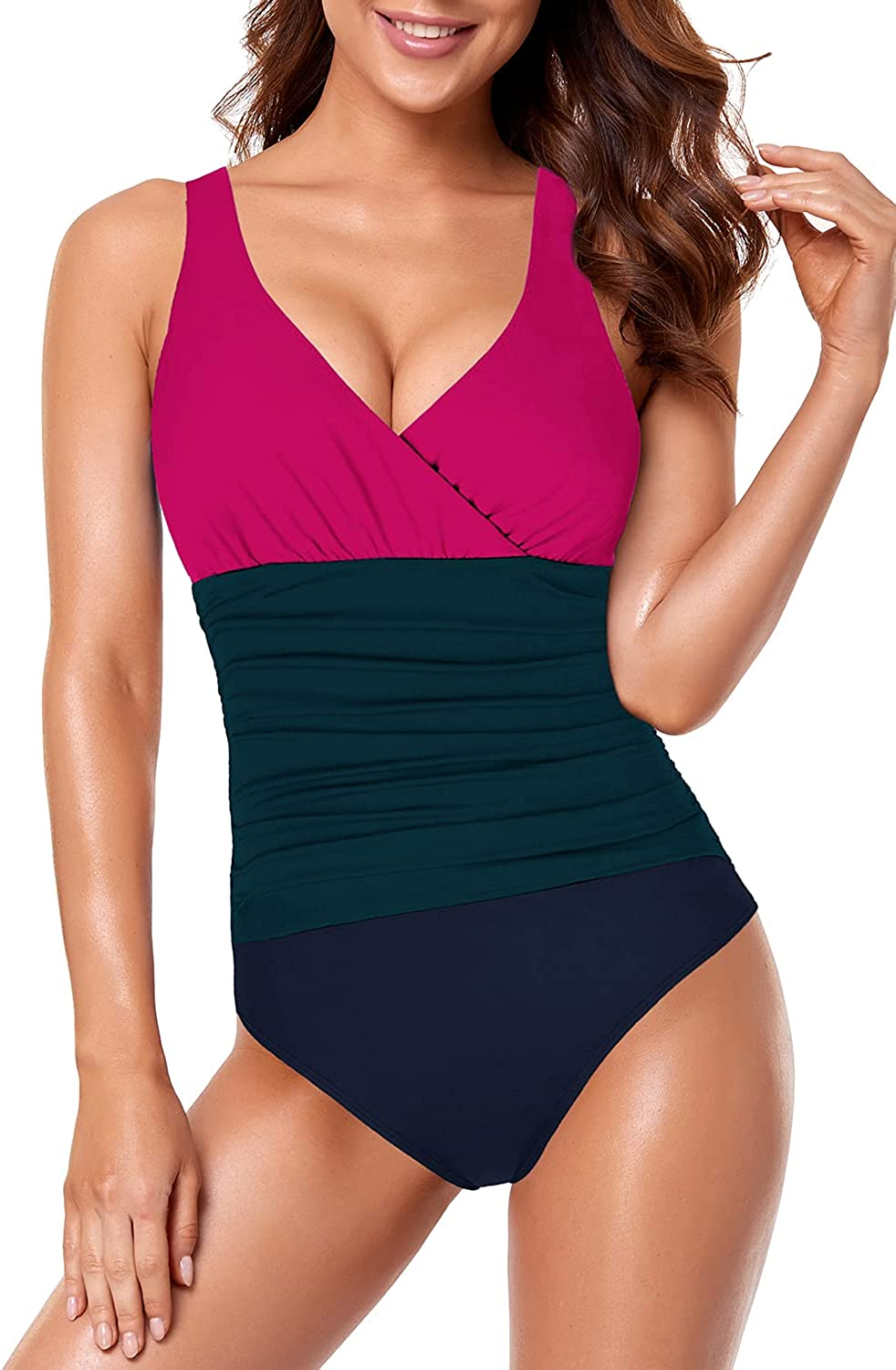 Upopby Women's One Piece Slimming Swimsuits for Women Tummy Control Bathing Suits V Neck Ruched Plus Size Swimwear