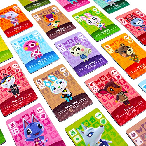 Animal Crossing New Horizons Cards - 24pcs, NFC Tag Game Cards for Switch/Switch Lite/Wii U, Mini Cards with Crystal Case (Cards&Red)