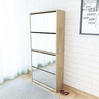 HUANGDANSP Meuble à Chaussures 4 étagères avec Miroir 63x17x134 cm Chêne Maison Jardin Produits ménagers Rangement Organis...