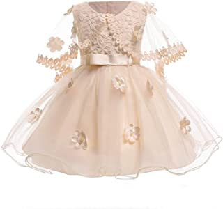 Infant Lace Pearl Formal Evening Wedding Tutu Princess Baby Dress Flower Girls Children Party for Girl Clothes