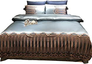 Nordic High-grade Cotton Material Light Blue Color Satin Embroidered Brown Lace Bedding Four Simple Quilt Bed Linen Hotel ...