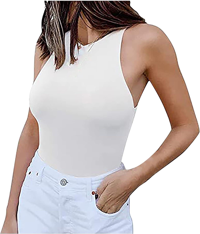 Women's Sexy Sleeveless Slim Bodysuit, Women's O-Neck Body Shapewear Seamless Jumpsuits Tummy Control Tops
