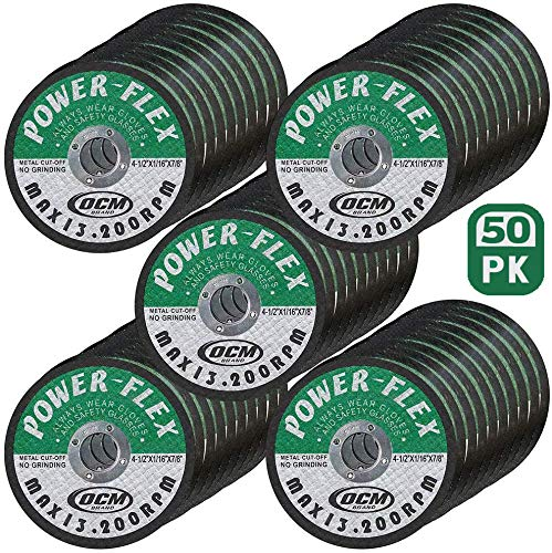 50 Pack - Cut Off Wheels 4 1/2 Inch x 1/16 Inch x 7/8 Inch - For Cutting All Steel and Ferrous Metals.