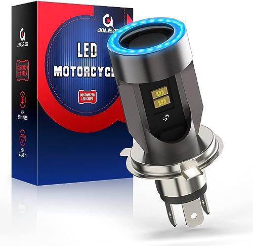 Ampoule H4 LED avec Yeux D'ange, HS1 Phare pour Moto 6400LM, DC 12V Pack de 1