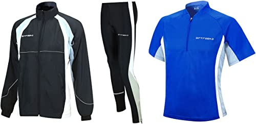AIRTRACKS Multifonctions de Course Kit Tight de Long + T-Shirt à Manches Courtes pour + Veste de Course
