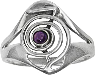 Moonlight Mysteries Sterling Silver Cho Ku Rei Symbol of Power Reiki Ring with Amethyst Gemstone (Size 4-15)