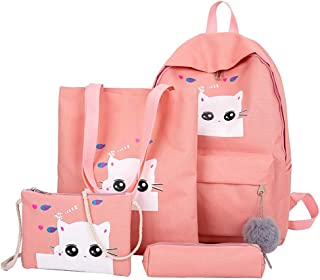 School Bags for Girls, Kids Backpack Built-in Handbag Inclined Shoulder Bag and Pen Bag, Elementary/Middle School, Unisex (Pink)