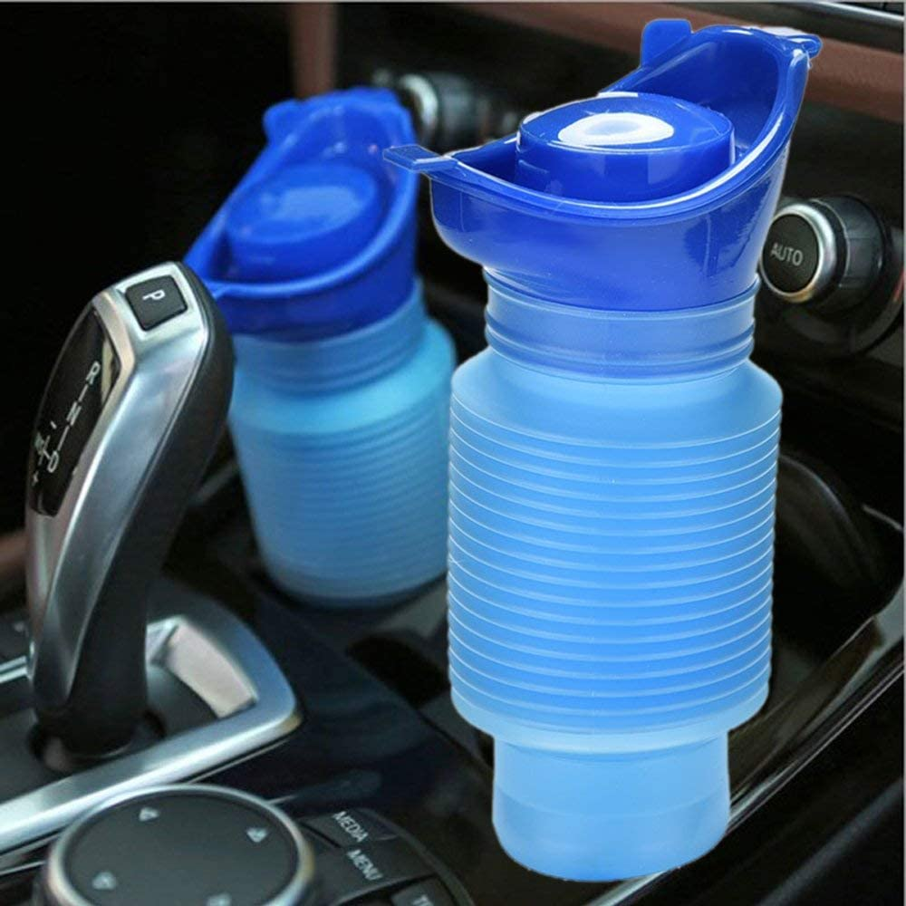 LinaLife Flexible Accordion Design 750ML Emergency Urinal,Portable Mini Outdoor Camping Travel Shrinkable Personal Mobile Toilet Potty Pee Bottle for Car, Male, Female Kids Children Adults