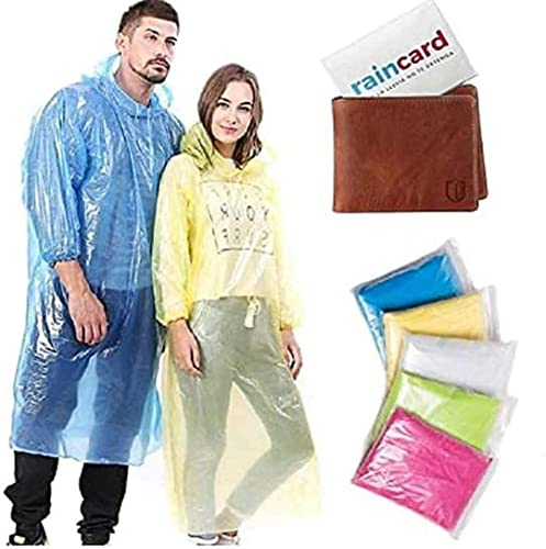 Unisex Disposable Pocket Size Easy to Carry Digi Raincoat Pack of 4 Rain Card Pink Blue Yellow Free Size