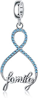 Saint-Valentin Infinity Love My Family Breloque en argent sterling 925 avec 8 formes pour bracelets colliers