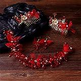 Weddwith Pelo Adornos Novia Arnés para la cabeza Europa Boda Corea del Sur Cristal Hairband Set Red Pink Comb Niño Flower Turban