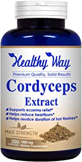 Healthy Way Pure Cordyceps Extract 1000 mg 200 Capsules (Non-GMO & Gluten Free) Cordyceps Sinensis - Healthy Immune Suppor...