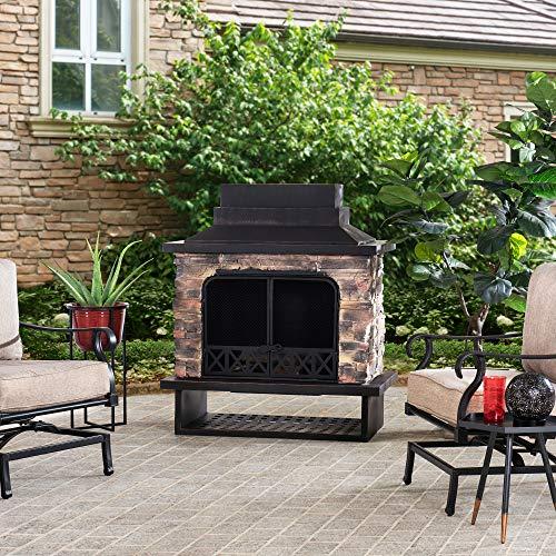 Sunjoy Gwendolyn Wood Burning Fireplace, Black